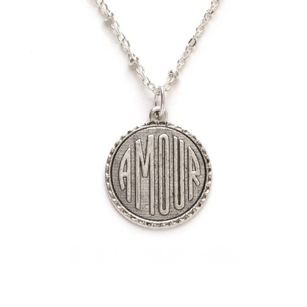 Silver Amour Medallion charm necklace, beaded chain with extender, sterling silver ox over brass.
