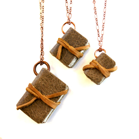 Brown Leather Book Necklaces with Tie
