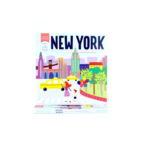 Cover features cartoon illustration of some of the buildings, places and things that identify NYC.
