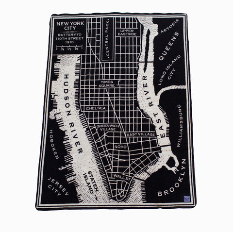 New York City Vintage Map Wool Throw