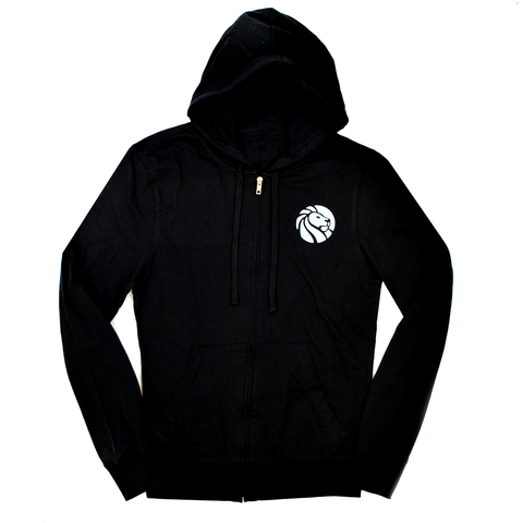 Front of hoodie. White, small library lion logo on the right top side.