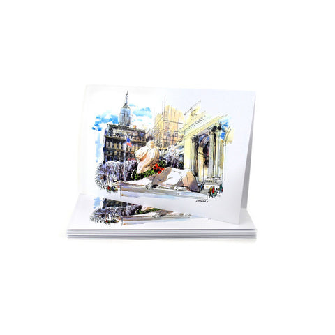New York Public Library Lion and The Empire State Building Holiday Card Set