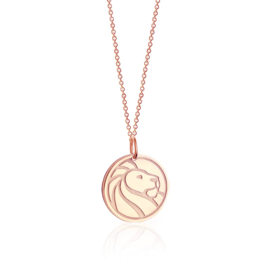Rose Gold NYPL Lion Necklace