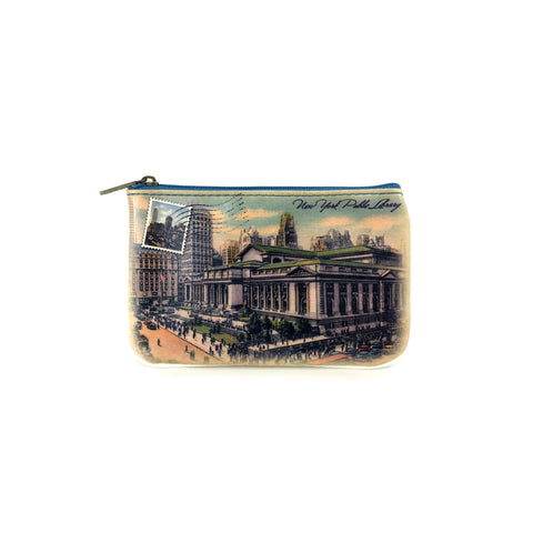 Vintage NYPL Postcard  Pouch