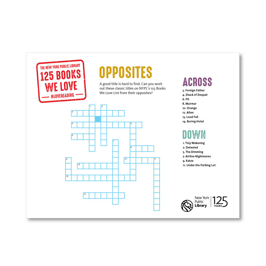 Printable Crossword: Opposites - The New York Public Library Shop