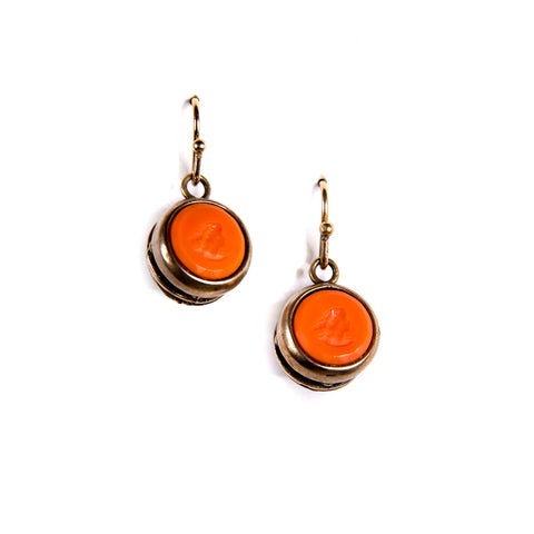 Round Coral Intaglio Earrings