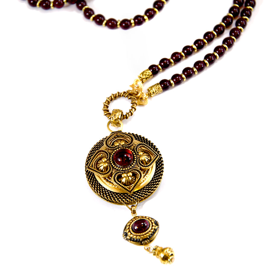 Garnet Rounds Drop Necklace - The New York Public Library Shop