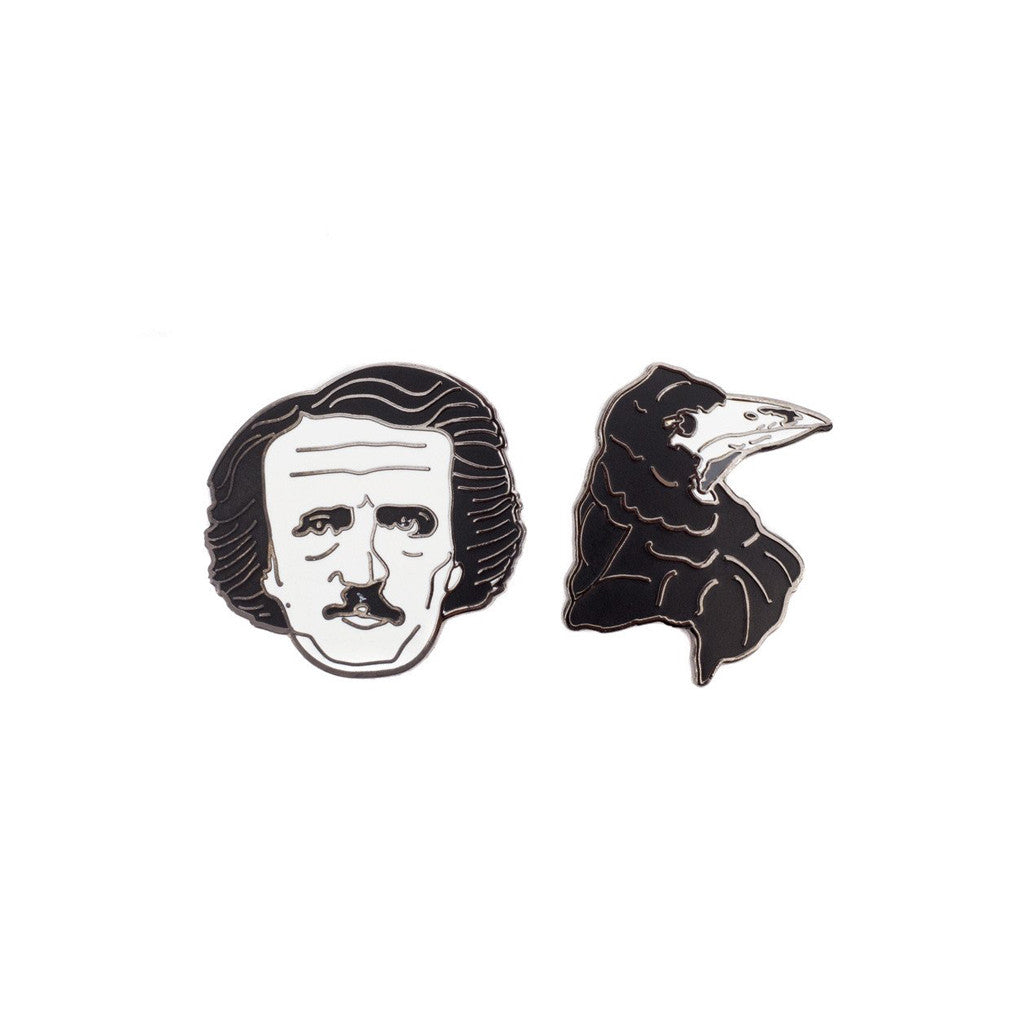 Edgar Allan Poe and Raven Pin Set - The New York Public Library Shop