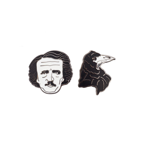 Edgar Allan Poe and Raven Pin Set