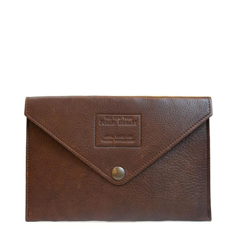 all brown envelope with brass snap to close.