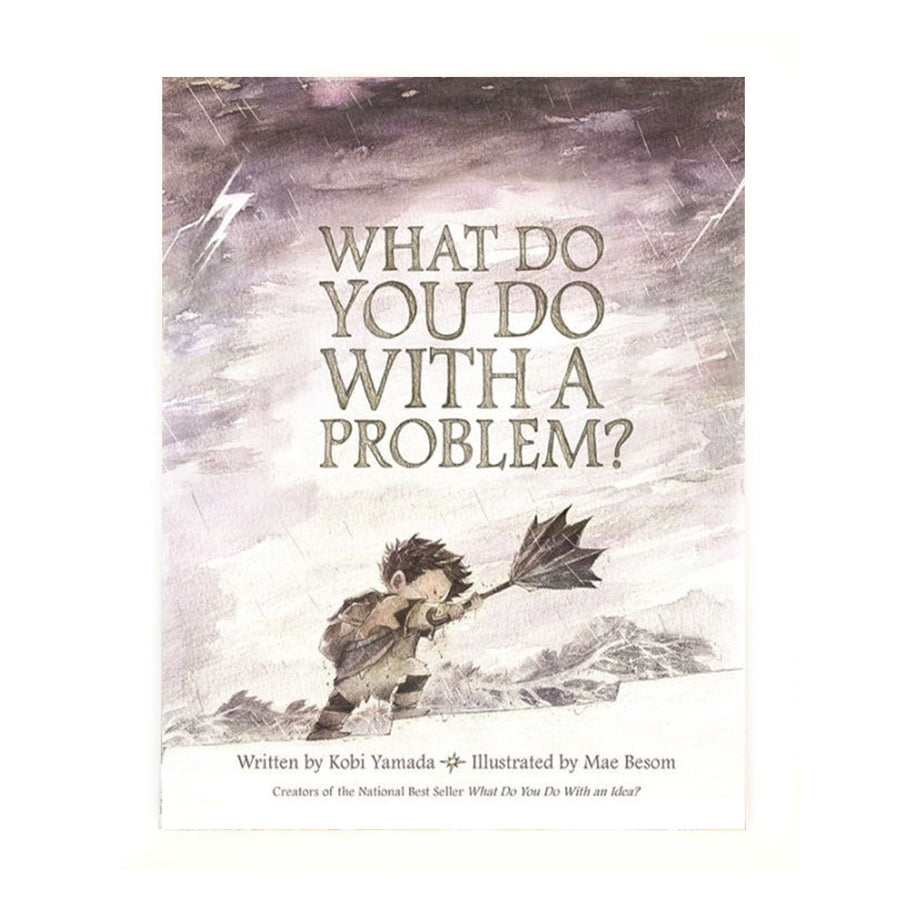 Cover features an illustration of a kid trying to hold on to a broken umbrella that wants to fly away. Title in on big letters in the center of the cover.