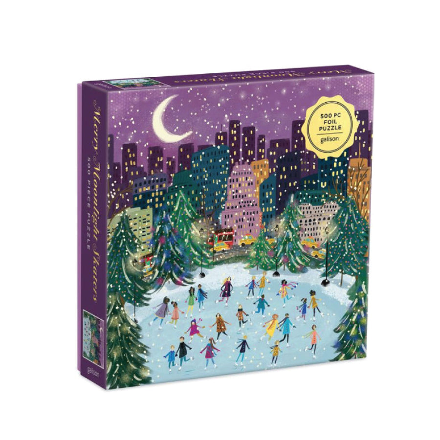 Merry Moonlight Skaters Foil Puzzle