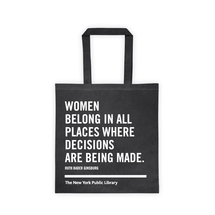 Black NYPL Ruth Bader Ginsburg Tote Bag - The New York Public Library Shop