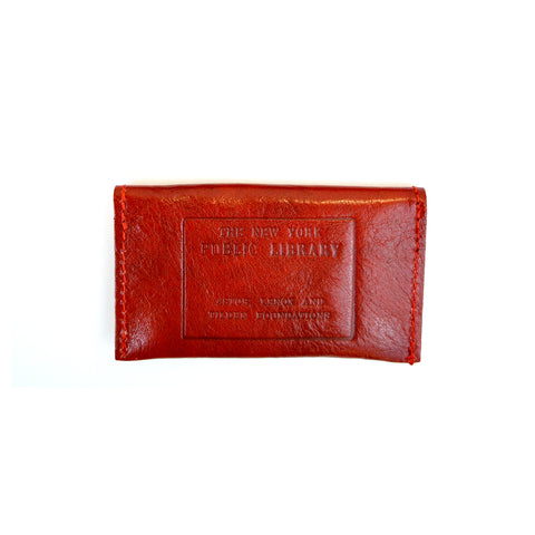Red Leather NYPL Stamp Card Case