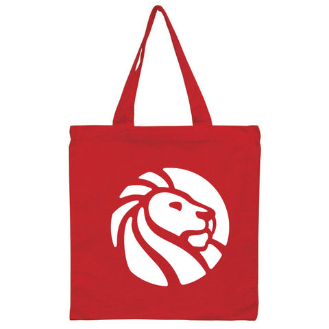 White library lion logo on red background tote.
