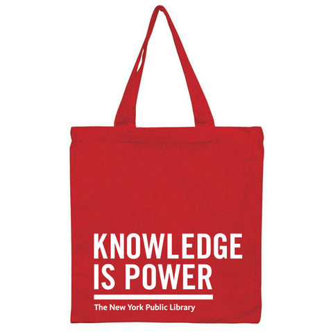 "All red tote with white text ""Knowledge is Power"" and ""The New York Public Library"" at the bottom."