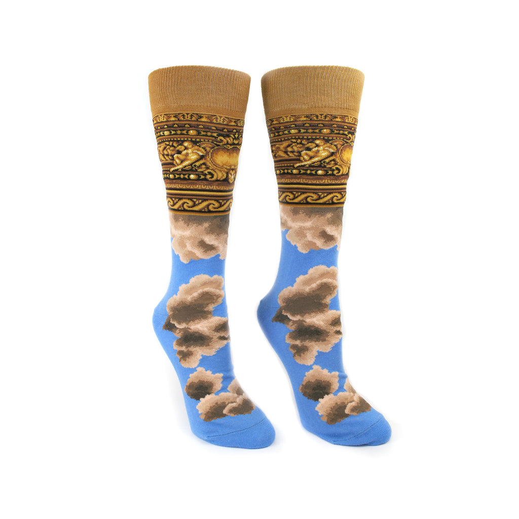 The foot part of the sock has the blue sky illustration. The leg and cuff part of the sock illustrates the framework, made of plaster and painted to emulate gilded wood in the Rose Reading room.