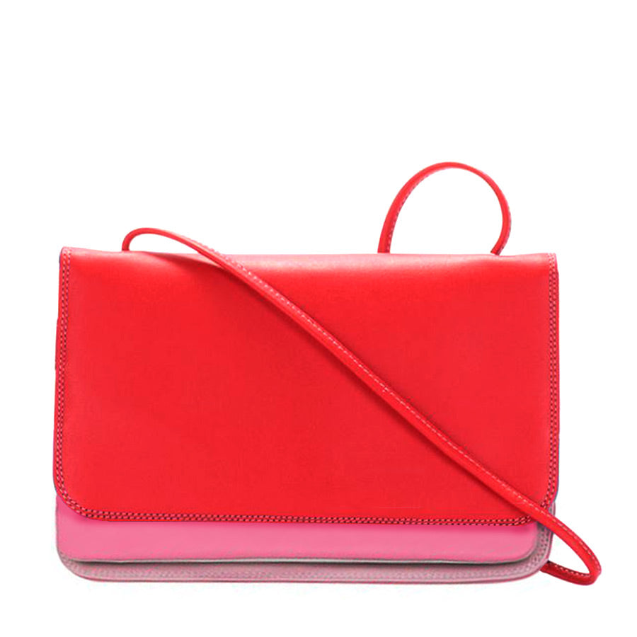 Cross body bag is mainly red on the outside but also has colors bubble pink and light pink
