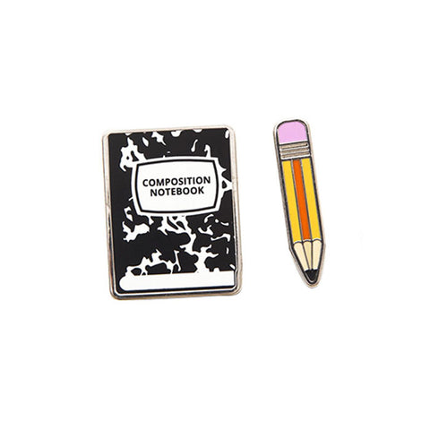 Notebook and Pencil Pin Set