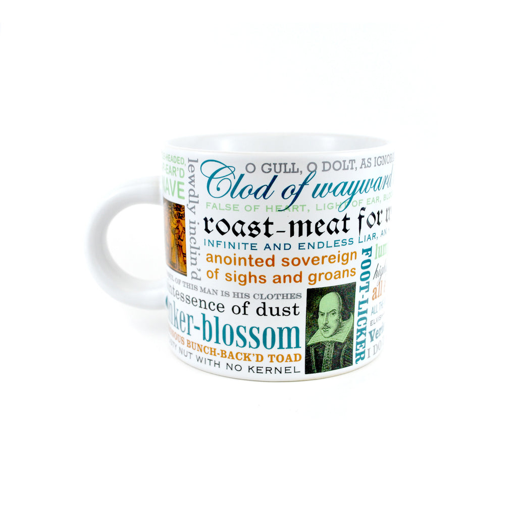 Quotes and images of Shakespeare on white background mug.
