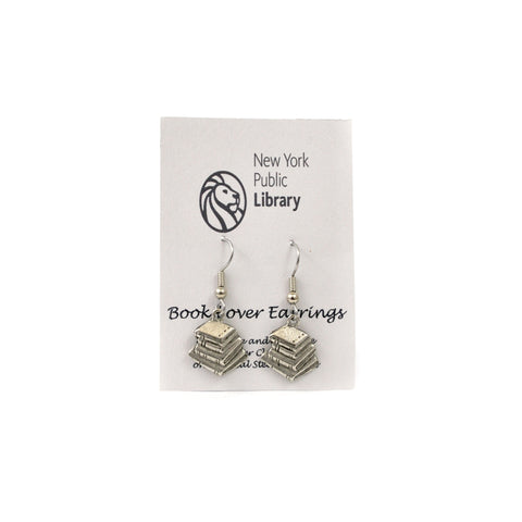 Silver Book Stack Earrings