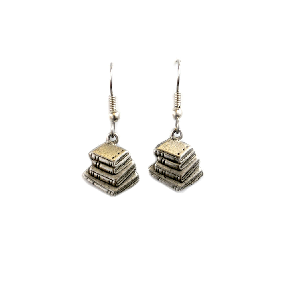 Silver Book Stack Earrings - The New York Public Library Shop