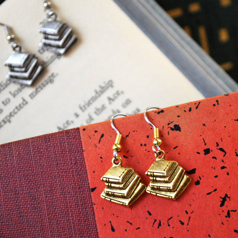 Gold Plated Book Stack Earrings - The New York Public Library Shop