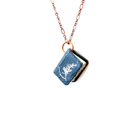 Small NYPL Anna Atkins Cyanotype: Book Necklace