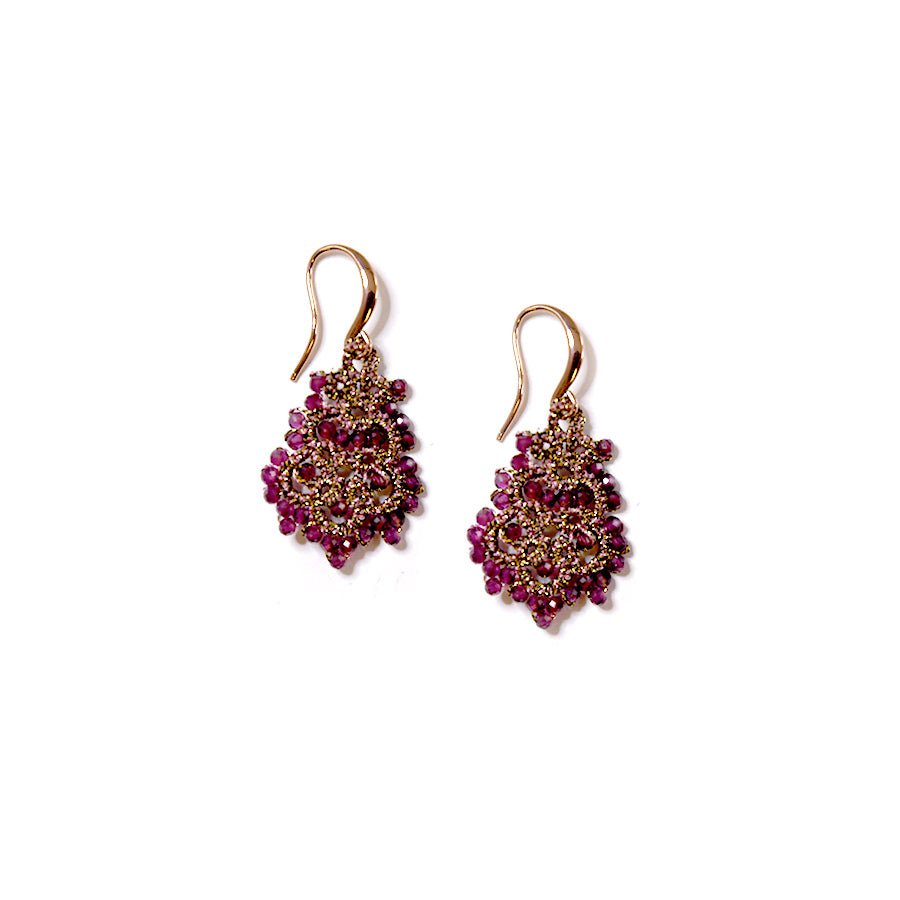 Lace Earrings: Donna in Garnet