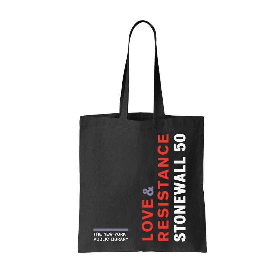 "All black tote with red and white text ""Love & Resistance: Stonewall 50"" and text ""The new York Public Library"" at the bottom left corner."