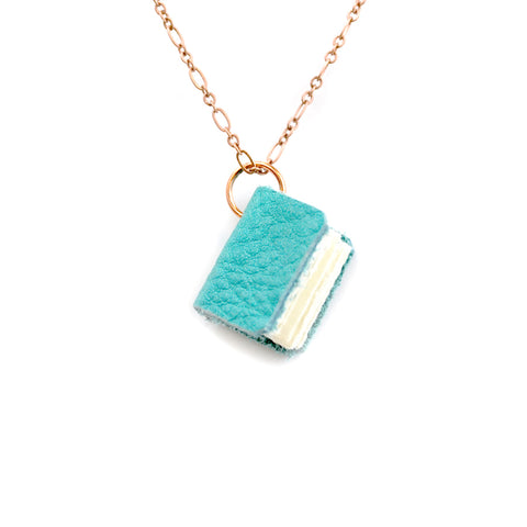 Teal Leather Book Necklaces