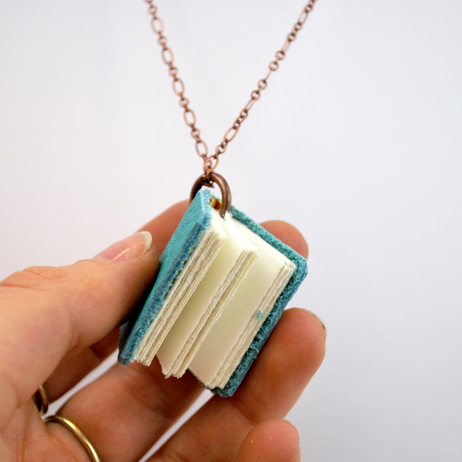 Teal Leather Book Necklaces - The New York Public Library Shop