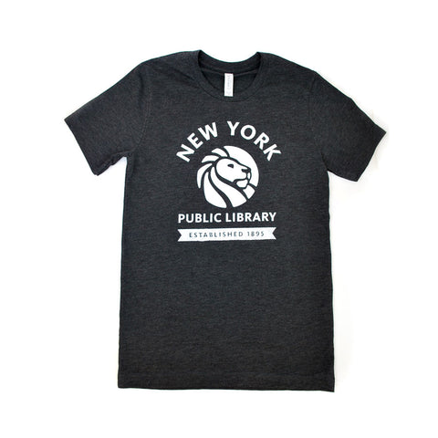 White Library's lion logo on dark gray background t-shirt.