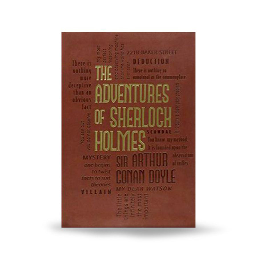 Title is in the center in gold-foil on a brown background. There is a word cloud based on the book surrounding the title carved into the cover.