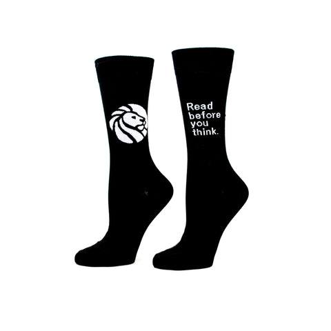 "The other sock has ""Read before you think"" and the library lion logo on reverse."