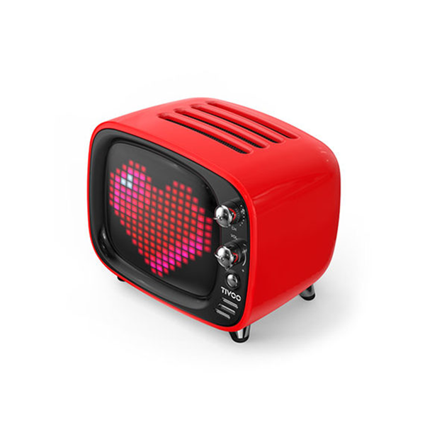Speaker shaped as a tv is available in red.