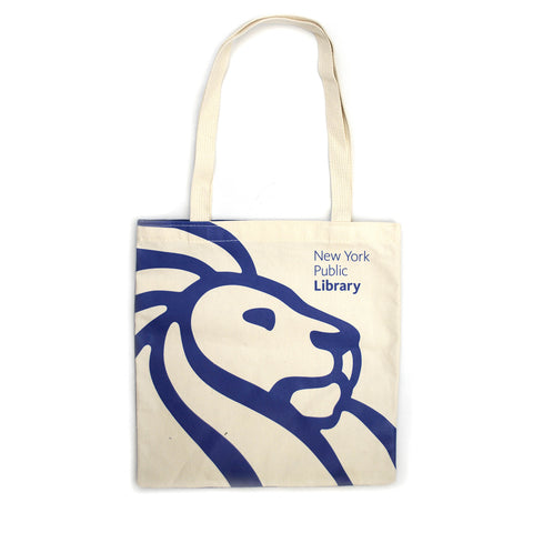 "Royal blue library lion outline on cream colored background with text ""New York Public Library"" in the right corner."