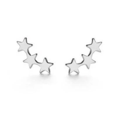 Silver Star Cluster Earrings