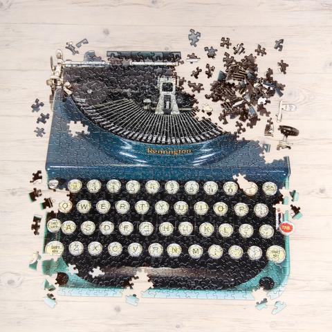 Typewriter is two shades of blue.