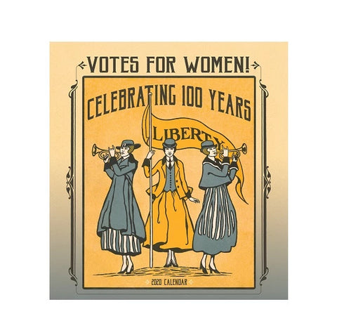 "Cover features an illustration of three women: two with trumpets and one holding a sign with text ""Liberty"" on it. Title is on the top and illustration is yellow and blue."