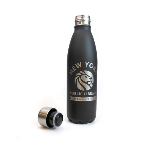 Black bottle with NYPL logo in silver. The cap is also silver.