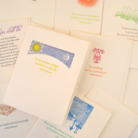 All cards have a different quote with an illustration related to the quote on the front. Illustration and quotes are pastel colors on off-white background.