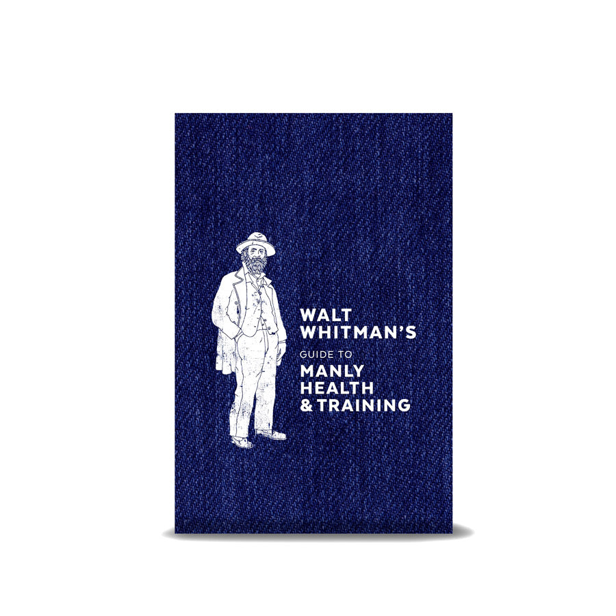 Denim-like blue background with a illustration of Walt Whitman in white and the title of the book next to it.