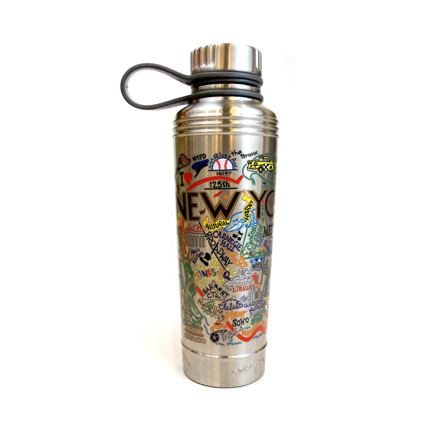 Colorful and fun world cloud with illustrations of the highlights of New York City on steel bottle. Bottle has a black plastic handle.