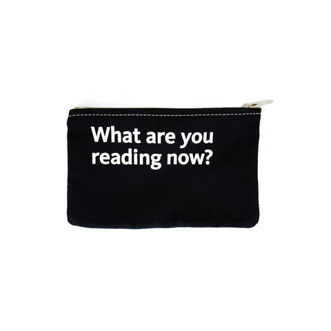 Quote on black background pouch.