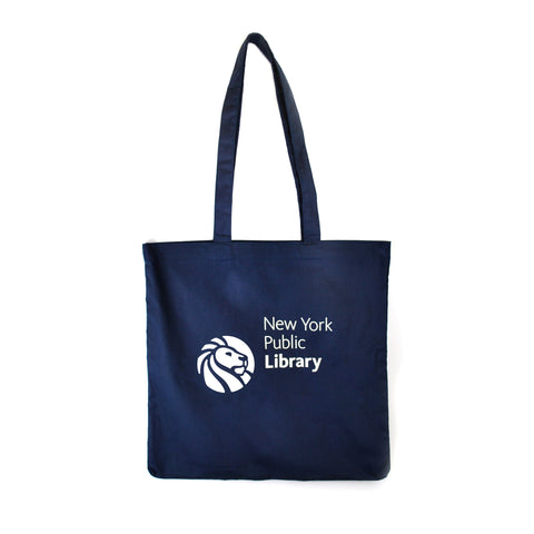 "Library lion logo on navy blue background tote. Text to the right side reads ""New York Public Library"""