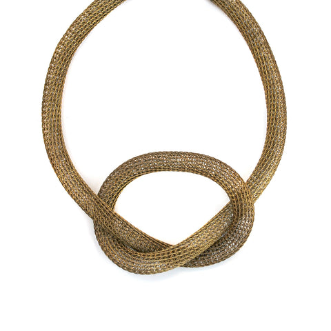 Brass Wire Knit Tube Necklace