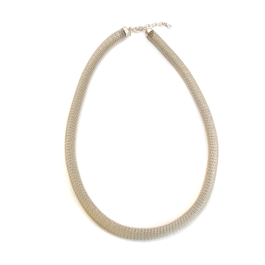Silver Wire Knit Tube Necklace - The New York Public Library Shop