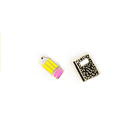 Enamel Notebook and Pencil Earrings
