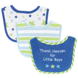 Luvable Friends I Love Mommy and Daddy Baby Bibs, Blue Daddy, 3 Count